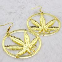 2x orecchini orecchino zinco+acrilico cannabis foglia MARIJUANA pendente 7cm