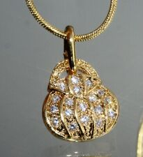 Fashionable Golden Handbag Pendant With Created Tiny Diamond + Necklace