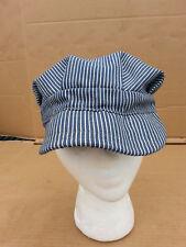Vintage LEE Denim Hat Sanforized Railroad Engineer Cap Union Made Striped Denim