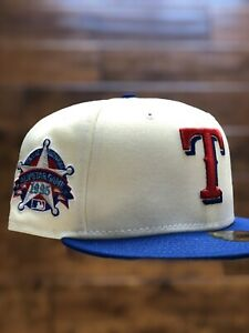 4ucaps98 Exclusive New Era 59FIFTY Off White Collection Texas Rangers 7 3/8