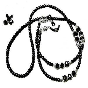 Reading glasses beaded holder lanyard (optional earrings) - black pearl crystal