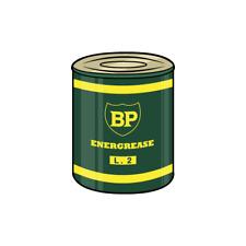 Vintage BP Energrease 2 Oil Decal Sticker Tin Bottle Drum Garage