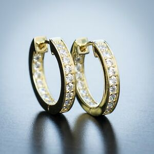 Mens 14K Yellow Gold Large Iced One Row 5A Quality Cz Clip one Hoop Earrings