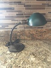 Wired Antique Table Lamp Fixture With Green Metal Shade
