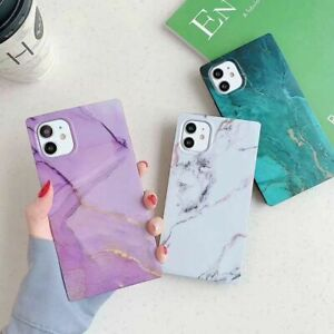 Square Phone Case For iPhone 11 Pro Max XS XR 8 7 iPhone 12 Marble Soft Cover