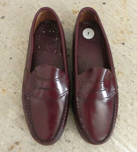 Bass Penny Loafers Burgundy Leather Slip On Size 7