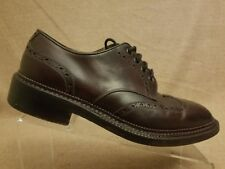 Calzoleria Harris Men Brown Leather Lace Up Wingtip Oxford Dress Shoes Size 10