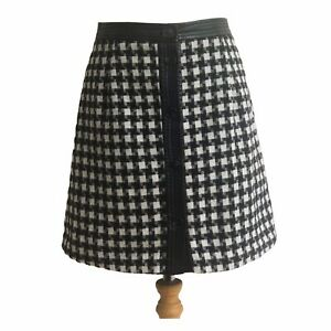 JOY Vintage Inspired 80s Black White Houndstooth  Fashion Mini Skirt  UK 10 S