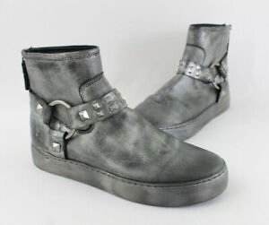 Frye Women's Pewter Gray Metallic Leather Round Toe Ankle Boots Shoes Size 8