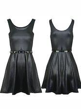 Mini Wet look, Shiny Sleeveless Dresses for Women