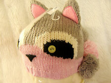 Girls Cute Animal Racoon Pink Grey white stand up ear pom pom tail beanie hat