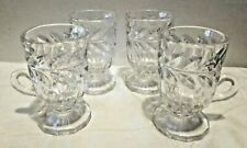 """Irish Coffee Small Mugs Cups With Etched Leaf Design Set Of 4 Glass 3 7/8"""" Tall"""