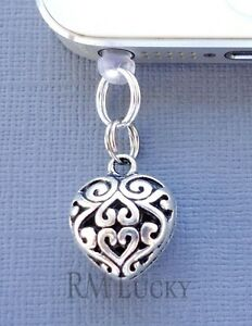 Heart cell phone Charm Anti Dust proof Plug ear jack For iPhone smartphone C105