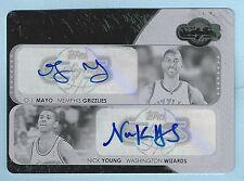 O. J. MAYO NICK YOUNG 2008/09 TOPPS CO-SIGNERS BLACK PRINTING PLATE AUTO 1/1