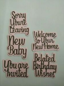 10 pce belated birthday new home new baby leaving invited words cutting die set