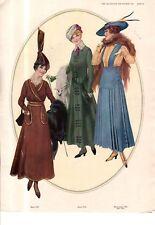 1915 Original Delineator Fashion Print - Fall Furs, Dresses, Blouse-Waist, Skirt