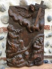 RARE Grand Panneau Bois Sculpté  XVII  Ou XVIII Jesus Sortant Du Tombeau