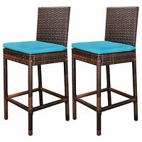 Durable Weather-resistant PE Rattan Wicker Bar stools Set of Two Ez Assembled