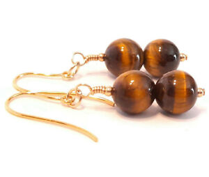 9ct Gold Tiger Eye Earrings, Hooks Drops with Semi-precious 8mm Gemstone Beads