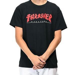 Thrasher Tee Godzilla Black Premium Skateboard Magazine T-Shirt