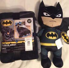 Batman Ultra Soft 62 x 90 PLUSH BLANKET + Batman Throw Doll Hug Cuddle PILLOW
