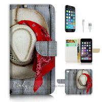 ( For iPhone 7 Plus ) Wallet Case Cover P3013 Western Hat