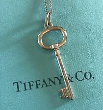 "Tiffany & Co 18K Rose Gold Oval Key Pendant 1.5"" / Necklace Chain 20"""