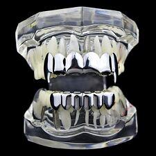 Fang Grillz Set Silver Tone Six Top & Lower 6 Teeth Vampire Fangs Dracula Grills