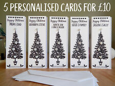 5 pack Personalised Christmas cards black and silver special CHRISTMAS cards