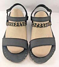 Ugg Australia Black Leather Strapy Flat Sandals Womens Size US 9M