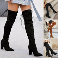 Womens Thigh High Boots Ladies Stretchy Over The Knee Plain Long Heel Shoes Size