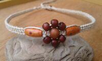 Earthy Wood Bead Flower Hemp Necklace Bohemian Macrame Handmade Choker