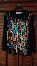 Casual Corner Women's Holiday Cruise Multicolored Sequined top Long Sleeve Med