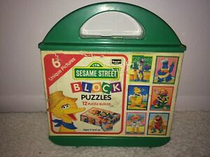 Vintage Sesame Street Block Puzzles 1996 Rose Art w/ Case 6 Unique Pictures