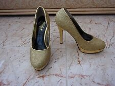 BLACK GARDENIA Ladies Gold Sparkle Court Shoes size  4 UK -  37 EU.