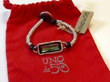 "NWT Uno de 50 Silvertone Beaded Green Swarovski Bracelet 6.25"" ""Full Speed"" $165"