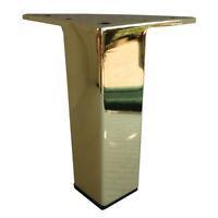 "Set Metal Furniture Legs Metal Couch Sofa Legs 5"" Shiny Brass 4PC DIY"