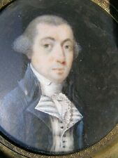 Antique Fine Portrait Miniature Painting French Gent 1780's Poudered Hair