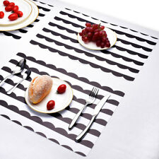 2pcs/set Dining Table Place Mats PVC Placemats Pad Modern Black White Striped UK