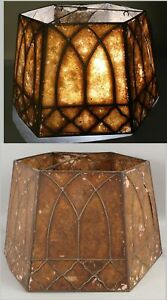 Antique Large c1920s Arts & Crafts Table Lamp Painted Amber Mica Large Shade NR