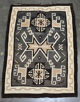 "Navajo Rug, Two Gray Hills, C. 1925 73"" x 51"" Master Weaver Mary Yanabah Curley"