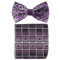 New formal Men's Pre-tied Bow Tie & hankie set plaids & checkers purple wedding