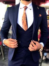 Diseñador Negocios OSCURO Azul Traje de hombre chaqueta chaleco Entallado