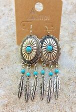Cowgirl Western Concho Faux Turquoise Metal Feather Dangle Hook Earrings Rodeo