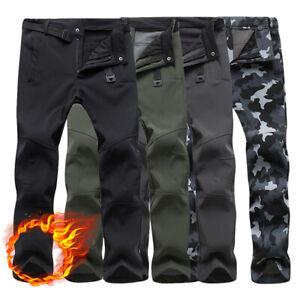 Men's Winter Thermal Trousers Tactical Waterproof Cargo Combat Warm Work Pants