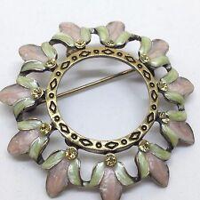 Vintage FLOWER WREATH BROOCH PIN Rhinestone Enamel Gold Tone Costume Jewelry