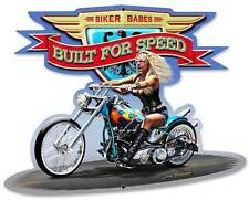 Motorcycle Biker Babe Chopper Metal Sign Man Cave Garage Club Grossman LG011