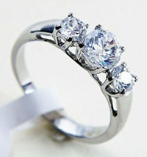 PLATINUM/STEEL ALLOY 1.34 CARAT GLEAMING SIMULATED MOISSANITE RING_SIZE 5+1/4