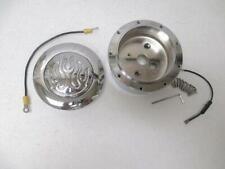 9 Hole Steering Wheel Flamed Flame Horn Button Chromed Billet Aluminum + Adapter