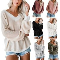 Casual Long Sleeve V-Neck Loose Women's Fashion T-shirt Tops Shirt Solid Blouse